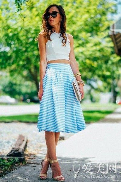 高腰裙显瘦搭 没有马甲线照样露